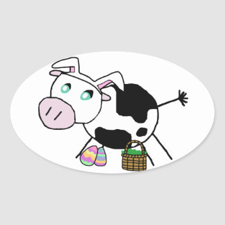 Vaca do coelhinho da Páscoa Adesivo Oval