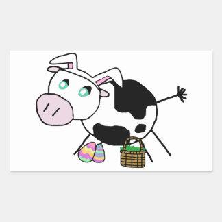 Vaca do coelhinho da Páscoa Adesivo Retângular