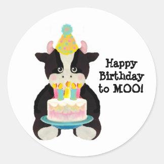 vaca do dia do aniversário adesivo