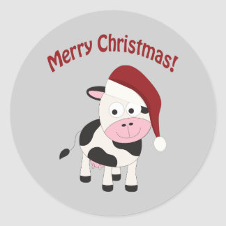 Vaca do Feliz Natal Adesivo Em Formato Redondo