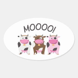 Vaca do MOO Adesivos Em Formato Ovais