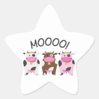 Vaca do MOO Adesivos Em Forma De Estrelas