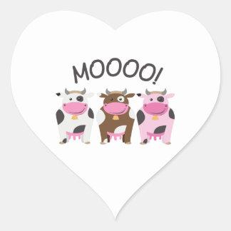 Vaca do MOO Adesivo De Coração