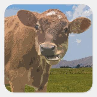 Vaca do país adesivo quadrado