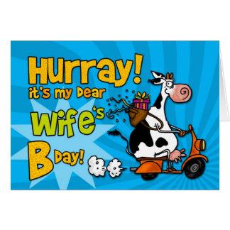 vaca do patinete do BD - esposa Cartão Comemorativo