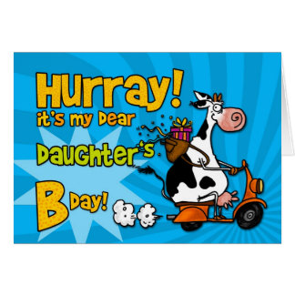 vaca do patinete do BD - filha Cartão Comemorativo