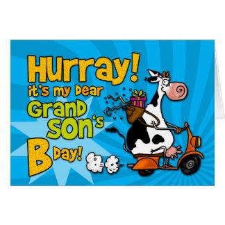 vaca do patinete do BD - filho grande Cartão Comemorativo