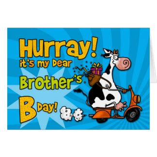 vaca do patinete do BD - irmão Cartão Comemorativo