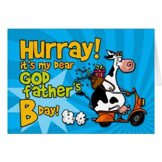 vaca do patinete do BD - padrinho Cartão Comemorativo