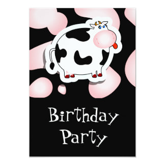 Vaca dos desenhos animados, convite