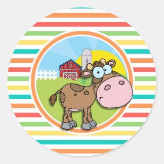 Vaca dos desenhos animados; Listras brilhantes do Adesivos Redondos
