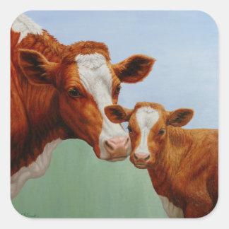Vaca e vitela adesivo quadrado