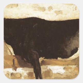 Vaca em um estável (igualmente sabido como a vaca adesivo quadrado