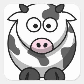 Vaca engraçada bonito adesivo quadrado