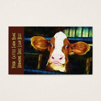 Vaca engraçada da vitela do rancho de gado cartão de visitas