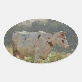 Vaca por Emile Claus Adesivo Oval