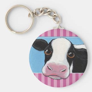 Vaca preta & branca lunática bonito com listra chaveiro