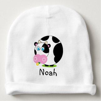 Vaca preto e branco dos desenhos animados bonitos gorro para bebê