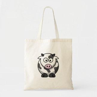Vaca redonda engraçada bonito dos desenhos animado bolsas para compras