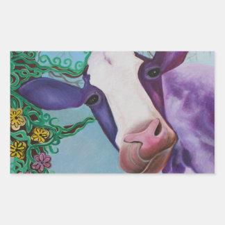 Vaca roxa adesivo retangular