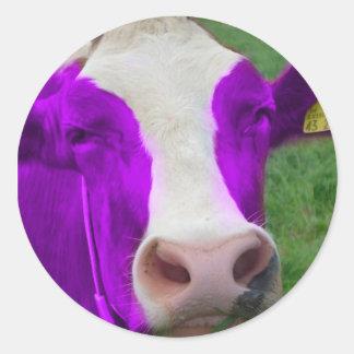 vaca roxa adesivo em formato redondo