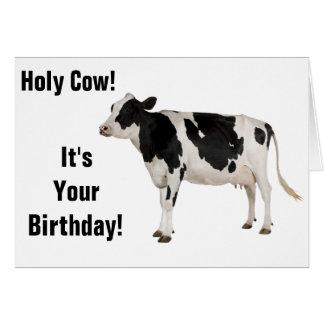 Vaca santamente! Cartão de aniversário!