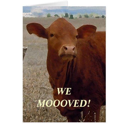 Vaca vermelha - mudança de endereço ocidental cartao