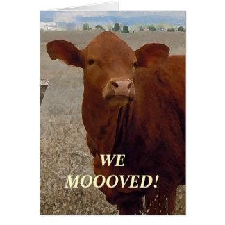 Vaca vermelha - mudança de endereço ocidental cartão de nota