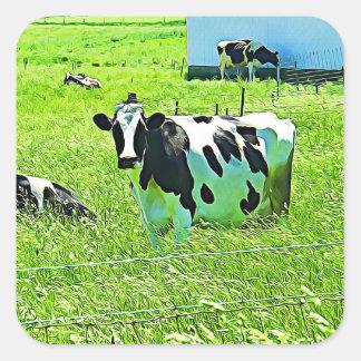 Vacas bonitos engraçadas em etiquetas do celeiro