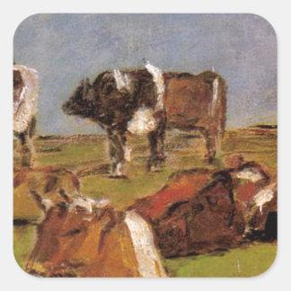 Vacas em um campo por Eugene Boudin Adesivo Quadrado