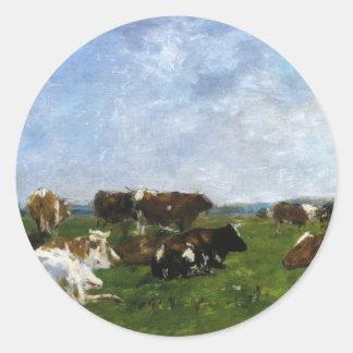 Vacas em um pasto por Eugene Boudin Adesivo
