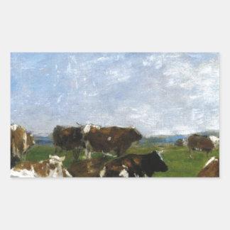Vacas em um pasto por Eugene Boudin Adesivo Retangular