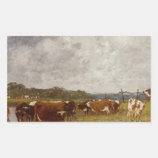 Vacas em um prado nos bancos dos Toques Adesivo Retangular