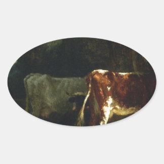Vacas em uma paisagem por Troyon constante Adesivo Oval