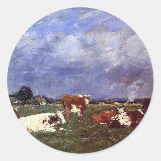 Vacas no pasto por Eugene Boudin Adesivo