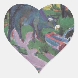Vacas no por do sol por Ernst Ludwig Kirchner Adesivo Coração