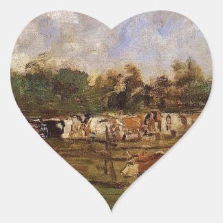 Vacas no prado por Eugene Boudin Adesivo Coração