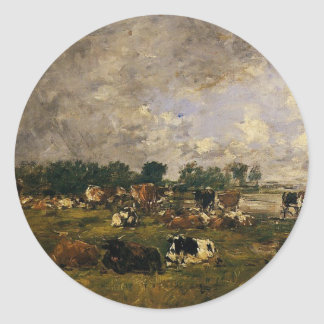 Vacas nos campos por Eugene Boudin Adesivo