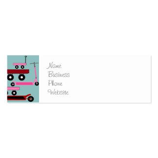 Vagões cor-de-rosa vermelhos dos patinetes do cartão de visita skinny