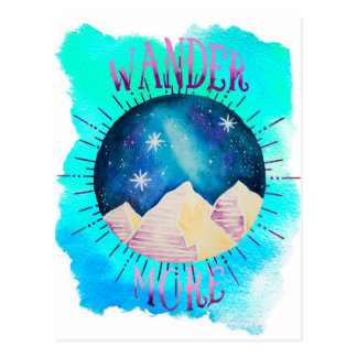 Vagueia mais - a aguarela aciganada do Wanderlust Cartão Postal