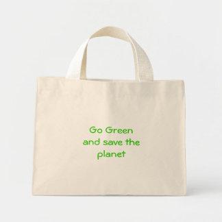 Vai o verde e salvar o planeta sacola tote mini