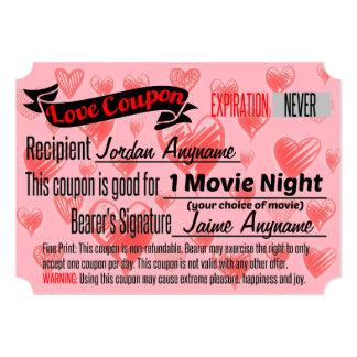 Vale do amor da NOITE DE CINEMA Convite 12.7 X 17.78cm