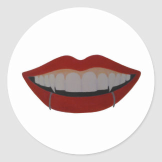 Vampire teeth adesivo redondo