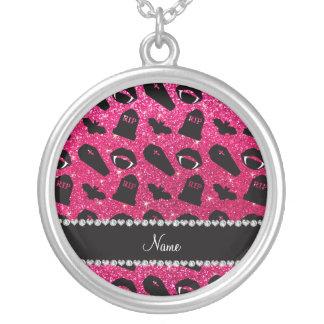 Vampiro conhecido personalizado do brilho do rosa colar personalizado