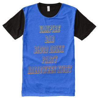VAMPIRO do DIA DAS BRUXAS por todo o lado na Camiseta Com Impressão Frontal Completa