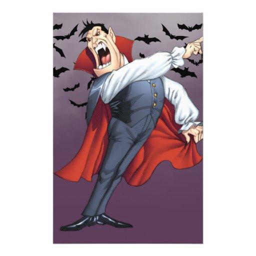 Vampiro engraçado dos desenhos animados com os bas panfletos coloridos