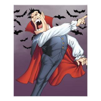 Vampiro engraçado dos desenhos animados com os modelos de panfleto