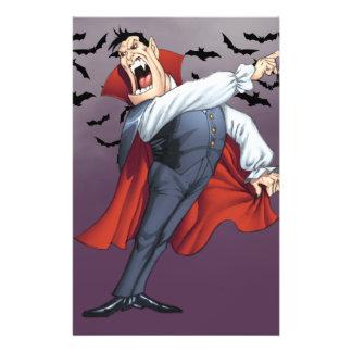 Vampiro engraçado dos desenhos animados com os panfletos coloridos