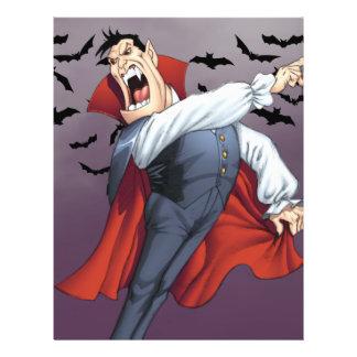 Vampiro engraçado dos desenhos animados com os panfletos personalizado