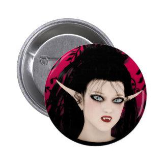 Vampiro gótico da arte da diva escura bóton redondo 5.08cm